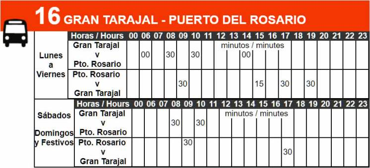 Bus Route 16 Timetable
